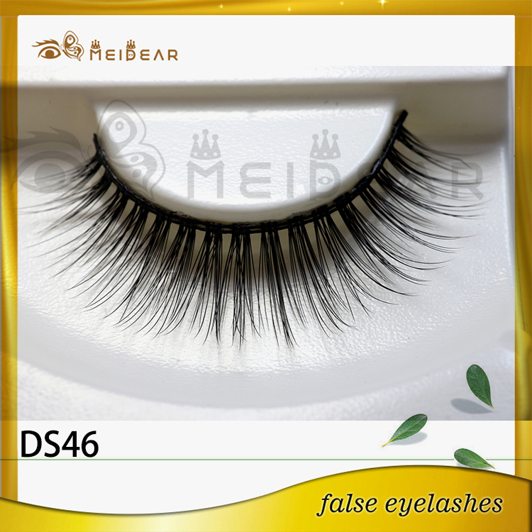 Private Label Natural Looking 3D Silk  Fur Eye Lashes