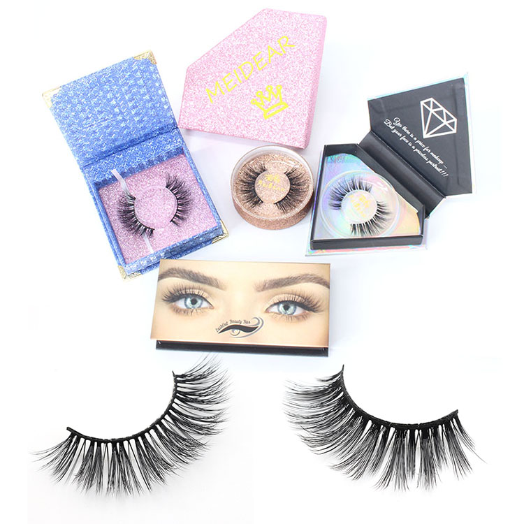 Synthetic faux mink false eye lashes with private label eyelash packaging box - Meidear eyelash