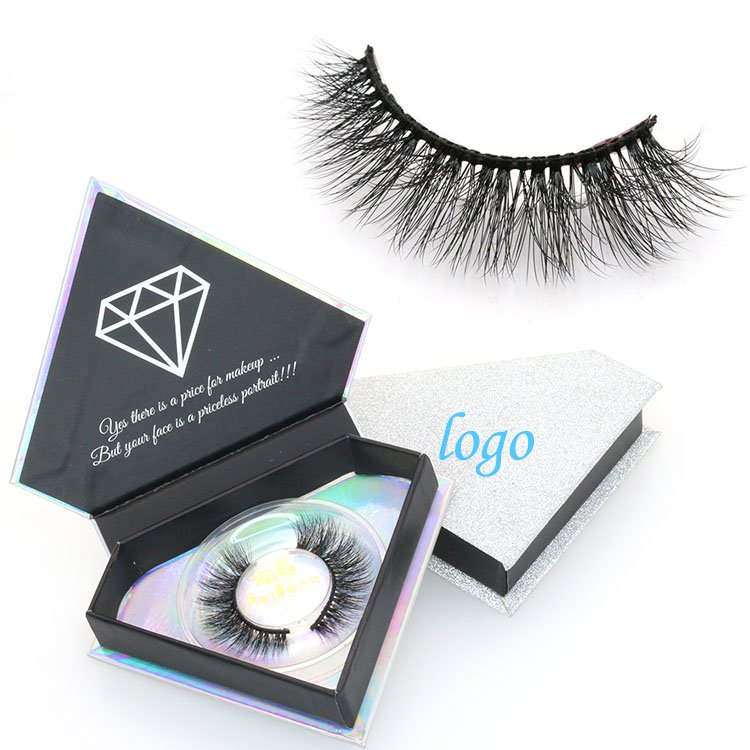 Eyelashes suppliers provide private label 3D faux mink lashes with custom packaging box